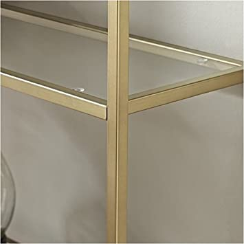 Pemberly Row Glass Bookcase in Antique Gold