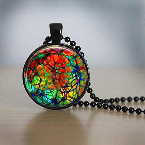 Colorful Stained Glass Pattern Illustration Black Necklace Pendant Decoupage Artwork Jewelry