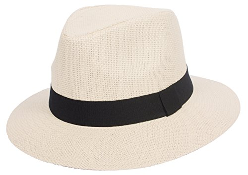 DRY77 Summer Cool Outback Panama Wide Large Brim Fedora Straw Hat Men Women, Natural, - Cool Hat Fedora Straw