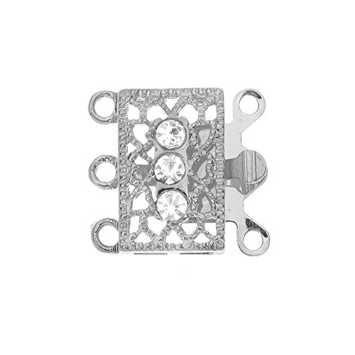 (Beadaholique Box Clasp, 3-Strand Filigree Rectangle Design with 3 Rhinestones 18x17mm, 2 Sets, Platinum)