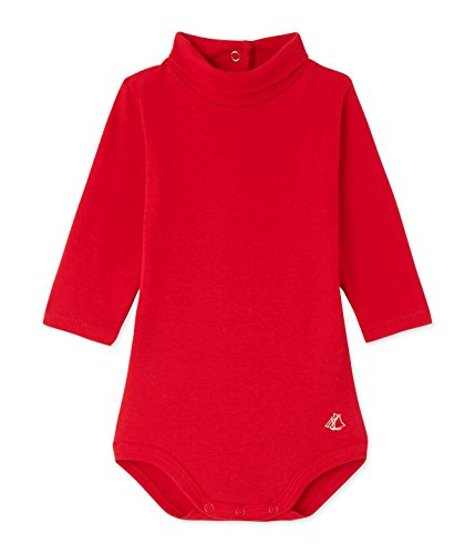 (Petit Bateau Baby Girl ROLL Neck Bodysuit Size 12 Month Style 25229 (Size 12/M Style 25229 Baby Girl) Red)