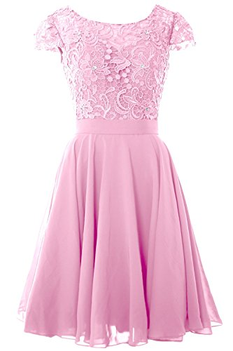 MACloth Women Cap Sleeve Mother of the Bride Dress Lace Short Formal Party Gown (24w, Pink)