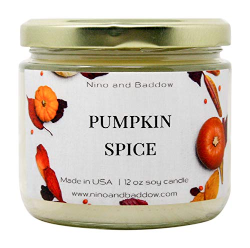 Pumpkin Spice Soy Wax Candles by Nino and Baddow -Candle Scented with Essential Oils Blend -Provides Home Aromatherapy and Odor Eliminator -Natural Soy-Based Oil Scent in a Jar is a Pure Aroma - Spice Pumpkin Glass Candle