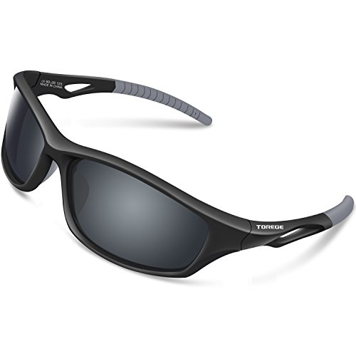 TOREGE Polarized Sports Sunglasses for Men Women for Cycling Running Fishing Golf TR90 Unbreakable Frame TR010-1 (Black&Grey Tips&Grey Lens)