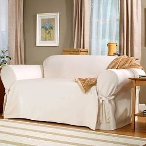 Perfect SOFA SLIPCOVER WHITE/NATURAL SURE FIT SAILCLOTH