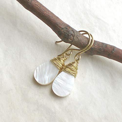 goldfarbene Ohrh/änger Messing oder 925 Silber vergoldet Wei/ße Perlmutt Ohrringe Tropfen