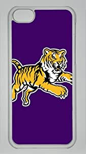 LSU Fighting Tigers Baseball Sports on Purple Iphone 5C Transparent Sides Hard Shell PC Case by eeMuse