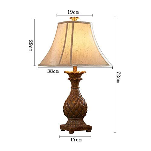 Stt Lamp - STTS Household Bedside Table Lamp, Decoration Desk Lamp, Studentye Protection Table Lamp, Minimalist Bedroom Bedside Table Lamp Retro Living Room Study Resin Pineapple Decorative Table Lamp, Home Up