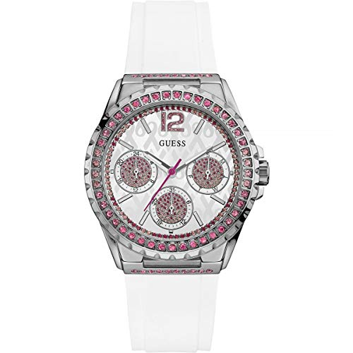 Guess Sparkling White Dial Stainless Steel Ladies Watch W0032L6