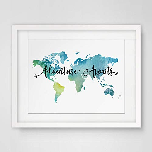 (Adventure Awaits Teal World Map Painting Watercolor Art Print Travel Quote Wall Decor Wall Hanging The World Map Decor 8x10 inch No)