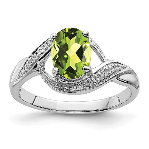 - 925 Sterling Silver Green Peridot Diamond Band Ring Size 7.00 Stone Gemstone Fine Jewelry Gifts For Women For Her