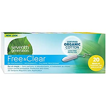 Seventh Generation Organic Cotton Tampons, Regular Absorbency Non-Applicator, 20 count (Pack of 12)