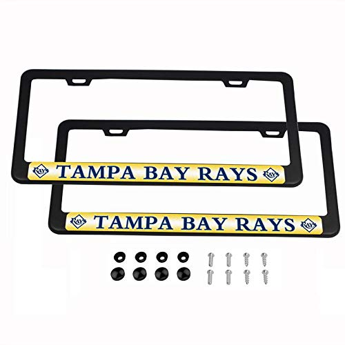 2PCS MLB Lightweight License Plate Frames Black Matte Powder Coated Aluminum - Tampa Bay Rays