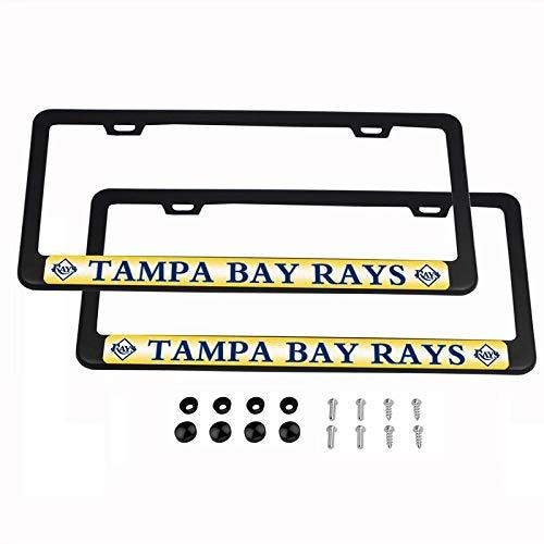 2PCS MLB Lightweight License Plate Frames Black Matte Powder Coated Aluminum - Tampa Bay ()