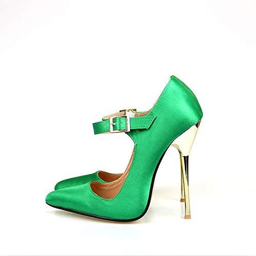 Puntiagudos Negra tacón Puntiaguda de con La Cara De Emerald Tela Mujer zapatos Yukun Zapatos Seda alto De g4q0FwxP