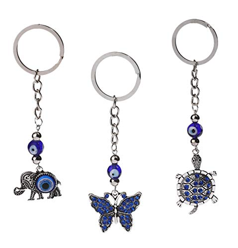 Elephants Evil (Turtle, Butterfly and Elephant Key Chain Set, 3 Pack with Nazars Evil Eye Bead for Protection)