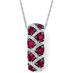 14K White Gold Ruby and Diamond Leopard Pendant Necklace, 18""