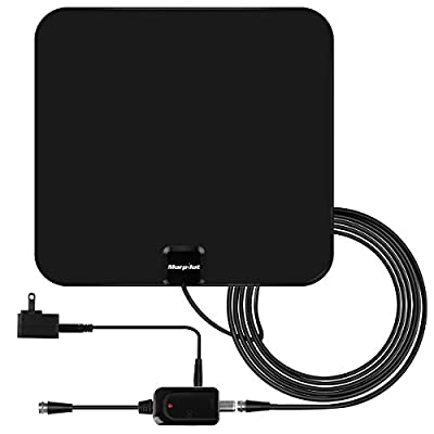 HDTV Antenna, 60+ Mile Range with Detachable Amplifier Signal Booster, TV Antenna Indoor Amplified Digital, 12 Feet Highest Performance Coaxial Cable-Black