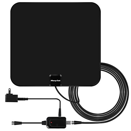 HDTV Antenna, 60 Mile Range with Detachable Amplifier Signal Booster, TV Antenna Indoor Amplified Digital, 12 Feet Highest Performance Coaxial Cable-Black