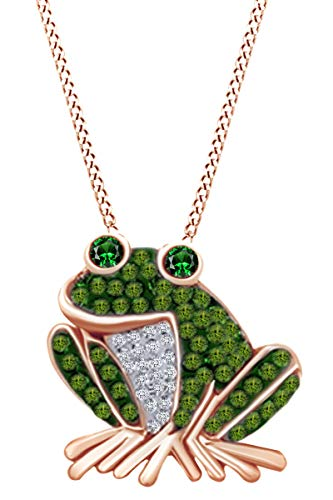 - AFFY 14k Rose Gold Over Sterling Silver Simulated Green Emerald,Peridot & White CZ Frog Pendant Necklace