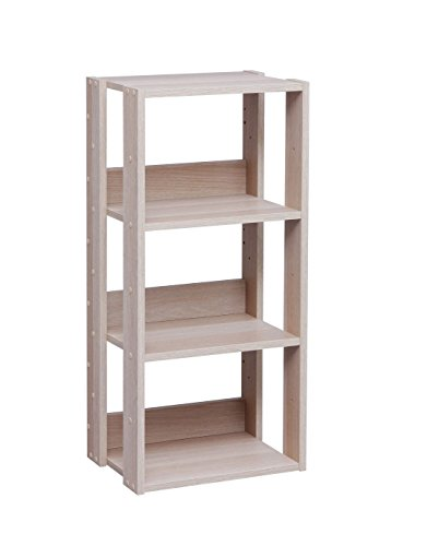 IRIS USA 3-Tier Open Wood Bookshelf, Light Brown