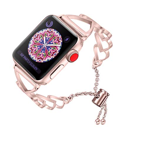 (RUOQINI Compatible with Apple Watch Band,Jewelry Bangle Cuff Women Girls Adjustable Stainless Steel Bracelet for IwatchBands of Series 4/3/2/1,38mm 40mm SZ-C Rose Gold)