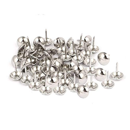 Sydien 7/16 Inch Dia Stainless Steel Silver Tone Upholstery Nail Tack Stud Push Pin 500 Pcs Round head (Upholstery Tone)