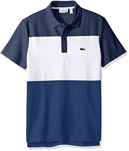 Lacoste Men's Short Sleeve Color Block Textured Pique Polo, Midnight Blue Chine/White/Waterfall Blue, 9 (Mens Lacoste Polo Shirts)