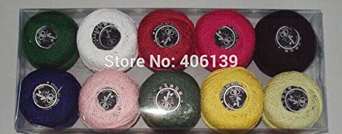 Maslin 2014 hot Selling 10 Rolls 9s/2 100% Cotton Stitch Embroidery Thread Crochet Thread Hand Cross Embroidery Thread