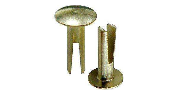 "No 9 x 1//2/"" Bifurcated Rivets Brass Mild Steel Split Leg Leatherwork D Rings"