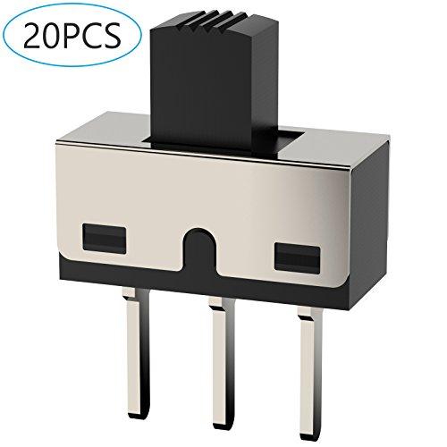 Slider Switch - DIYhz 20Pcs High Knob 3 Pin 2 Position 1P2T SPDT Panel Mount Vertical Micro Slide Switches AC 125V 2A
