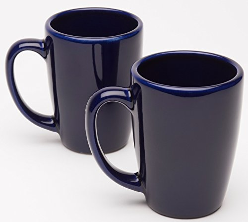 American Mug Pottery Ceramic Bistro Style Coffee Mug, Made in USA, Cobalt Blue, 14 oz - Pack of 2