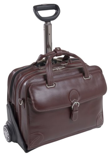 Siamod CARUGETTO 45296 Cherry Red Leather Detachable-Wheeled Laptop Case