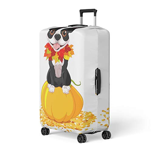 Pinbeam Luggage Cover Dog Boston Terrier Sits on Pumpkin Halloween Cartoon Travel Suitcase Cover Protector Baggage Case Fits 18-22 inches -