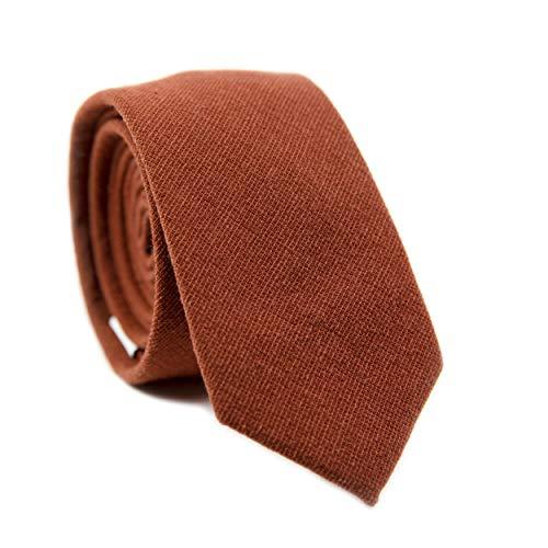 (DAZI Men's Skinny Tie, Cotton Wool Linen Necktie, Great for Weddings, Groom, Groomsmen, Missions, Dances, Gifts. (Rust))