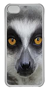 Big Face Ring Tailed Lemur Polycarbonate Hard Case Cover for iPhone 5C Transparent