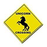 Unicorn Crossing Imaginary Animal Metal Aluminum Novelty Sign 12 in x 12 in
