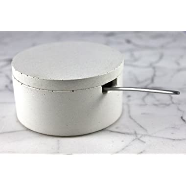 Culinarium - Large Concrete Salt Cellar with scoop - white