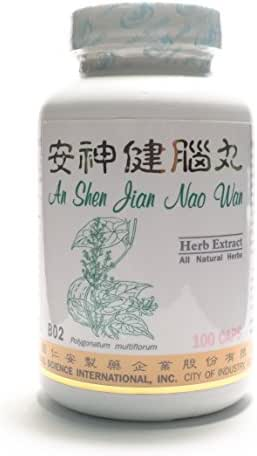 Brain Smoothing Tonic Dietary Supplement 500mg 100 capsules (An Shen Jian Nao Wan) B02 100% Natural Herbs