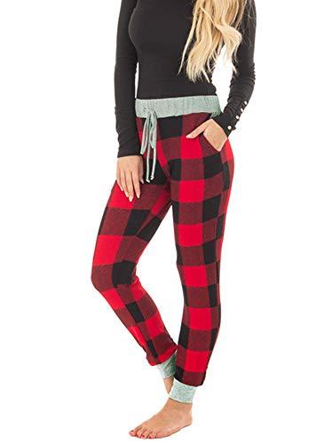 Huiyuzhi Womens Burgundy Plaid Pajama Jogger Pant with Heather Grey Contrast (S, A-Burgundy) - Plaid Pajama Bottoms