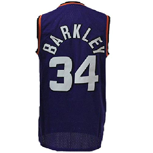 Mens Barkley Jersey Retro Basketball Charles 34 Jerseys(S-XXL) (Purple, S)