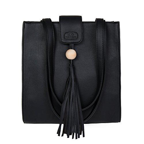 YEbao Single Shoulder Bag Lady Todos Coinciden Con Borla Bolso Bolsa De Portátil Simple Estudiante Viento negro