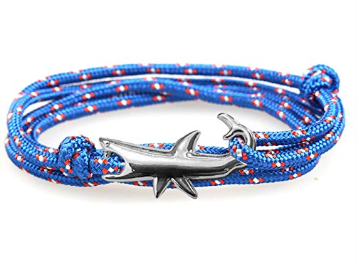 (HelloNita Unisex Nylon Rope Shark Wrap Bracelet for Men and Women 30 Inches (Sapphire Blue w. Silver Shark))