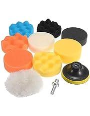 JSAuto Set de 11 Kit de Almohadillas de Esponja para pulir de Taladro Compuesto de 3 Pulgadas para lijar, pulir, encerar y sellar esmaltes de automóviles (3 Inch - 11 Pcs)
