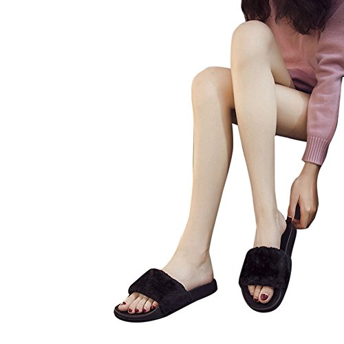 Women Slip On Flip Flops Fluffy Faux Fur Flat Slipper Fresh Style Home Outdoor Sandal (Black, US 8)