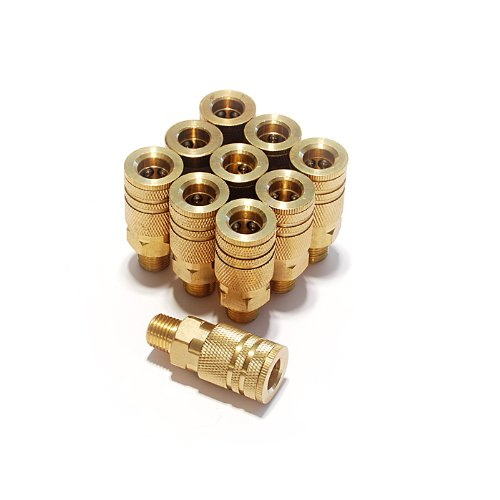 Primefit IC1414MB6-B10-P 1/4-Inch 6-Ball Brass Male Industrial Coupler Contractor Pack, 10-Piece