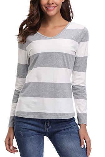 MISS MOLY Women's Striped Long Sleeve V Neck Loose Casual Knit Top T-Shirt by MISS MOLY