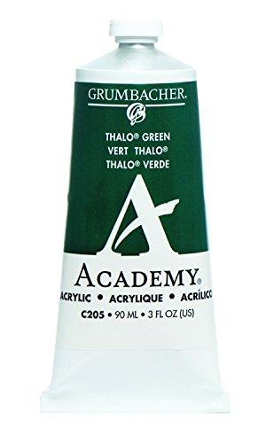 Grumbacher Academy Acrylic Paint, 90ml/3 oz Metal Tube, Thalo Green (Blue Shade)