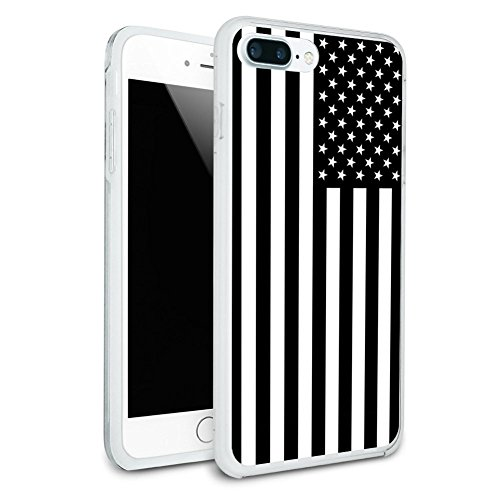 Subdued American USA Flag Black White Military Tactical Protective Slim Fit Hybrid Rubber Bumper Case Fits Apple iPhone 8 Plus