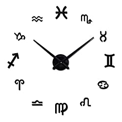 DIY 3D Wall Clock Modern Large Home Decor Sticker Frameless Black Mirror For Office Living Room Bedroom Kitchen Bar 12 Constellations Clock Plate